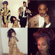 Beyoncé, Jay, and Blue dressed as Queen Aoleon, King Jaffe Joffer, and Imani Izzi, 2015. Photo via Beyoncé/ Instagram